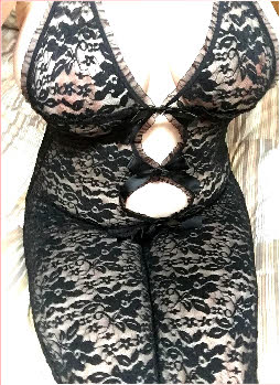 Bedfordshire spankee Sally in see-through lace bodystocking